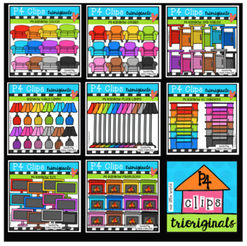 P4 RAINBOW AMAZING 8 DEAL Parts of the House LIVING ROOM (P4 Clips Trioriginals)
