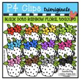 P4 RAINBOW Black Dot Floral Tea Cup (P4Clips Trioriginals)