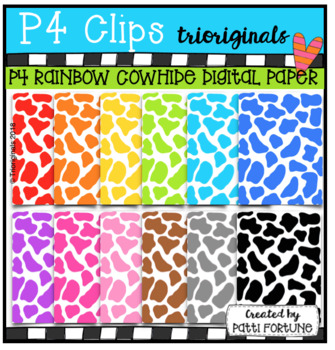 P4 RAINBOW Cowhide Digital Paper (P4 Clips Trioriginals)