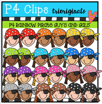 P4 RAINBOW Pirate Guys and Gals (P4 Clips Trioriginals Clip Art)
