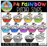 P4 RAINBOW Pirate Ships (P4 Clips Trioriginals) RAINBOW CLIPART