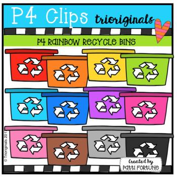 P4 RAINBOW Recycle Bins (P4 Clips Trioriginals Clip Art)