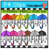 P4 RAINBOW Umbrella Heart Rain (P4 Clips Trioriginals) VALENTINE CLIPART