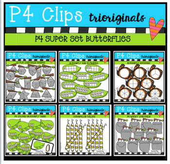 P4 SUPER SET Butterflies (P4 Clips Trioriginals Clip Art)