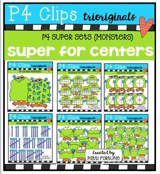 P4 SUPER SET Monsters (P4 Clips Trioriginals Digital Clip Art)