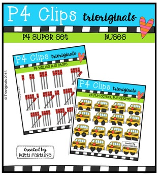 P4 SUPER SET School Buses (P4 Clips Trioriginals Digital Clip Art)