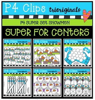 P4 SUPER SET Snowmen (P4 Clips Trioriginals Digital Clip Art)