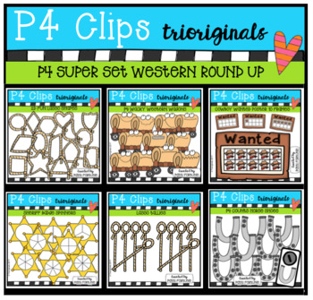 P4 SUPER SET Western Round Up (P4 Clips Trioriginals Clip Art)