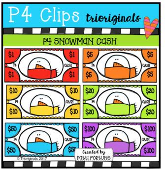 P4 Snowmen CASH (P4 Clips Trioriginals Clip Art)