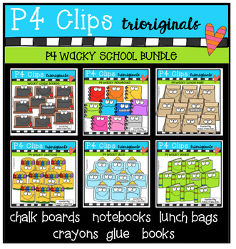P4 WACKY School BUNDLE (P4 Clips Trioriginals Digital Clip Art)