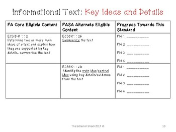 PA Alternate Eligible Content Progress Monitoring Grade 5 ELA
