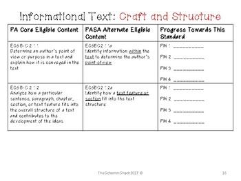 PA Alternate Eligible Content Progress Monitoring Grade 6 ELA