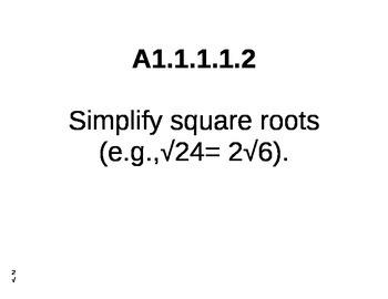 PA Common Core Algebra Standards