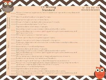 PA Common Core Checklist--ELA 1st grade {Owl Theme}
