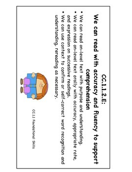 """PA Common Core ELA """"We Can Standard Statements"""" (2nd Grade)"""