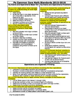PA Common Core Math Standards-4th Grade