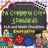 PA Common Core Standards Checklists: Kindergarten ELA AND Math