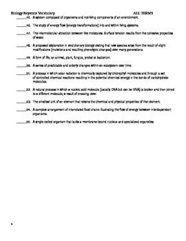 PA Keystone Biology Vocabulary Test