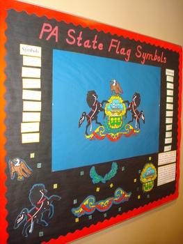 PA State Flag Symbols Bulletin Board Picture