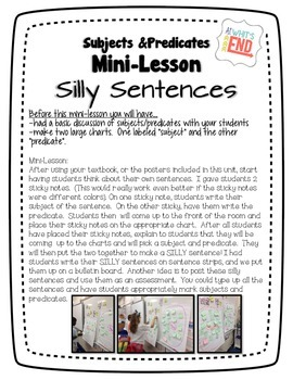 PARRTS of a Sentence {Subjects and Predicates}