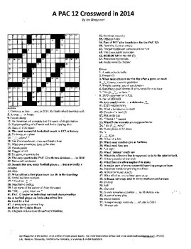 "PAC 12 Conference Crossword Puzzle, 2014, some ""sporting"" vocabulary practice"