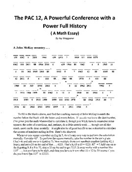 PAC 12 Conference History, Math Essay,Exponents,Powers,Order of Operations