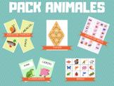 PACK ANIMALES - juego de memoria, flashcards, tarsia, bing