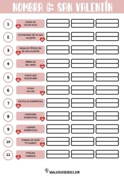PACK DE 11 ACTIVIDADES PARA CELEBRAR EL DÍA DE SAN VALENTÍN EN CLASE DE ESPAÑOL