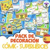 PACK DE DECORACIÓN DE CLASE- CÓMIC- SUPERHÉROES- ESPAÑOL