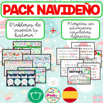 PACK NAVIDEÑO: TABLEROS CREAHISTORIAS + TARJETAS ESCRITURA CREATIVA (CASTELLANO)