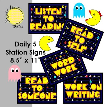 #TPTFIREWORKS PACMAN Daily 5 Literacy Centers Signs