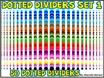 PAGE DIVIDERS ACCENTS- COLORED DOTS-SET 1- 50 DOTTED PAGE DIVIDERS