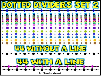 PAGE DIVIDERS ACCENTS- COLORED DOTS-SET 2- 88 DOTTED PAGE DIVIDERS