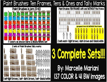 Place value clipart,ten frames and tally marks clip art- paint and brushes