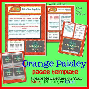 Pages - PAISLEY ORANGE - Newsletter Template - Create on iPads, iPhones, &Macs
