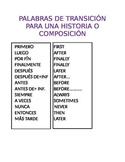 PALABRAS DE TRANSICION / SPANISH TRANSITIONAL WORDS
