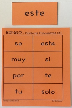 PALABRAS FRECUENTES - 2nd Six Weeks