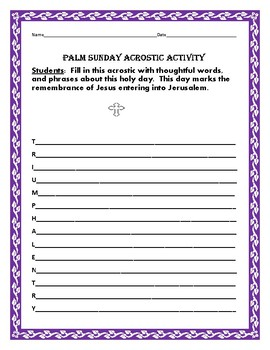 PALM SUNDAY ACROSTIC ACTIVITY