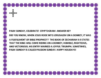 PALM SUNDAY, CELEBRATE! A CRYPTOGRAM