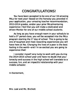 PALs Acceptance Letters