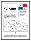 PANAMA - Printable handouts with map and flag