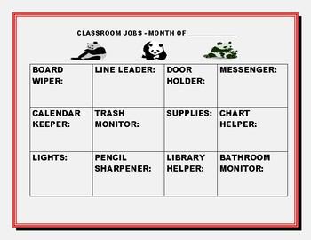PANDA BEAR CLASSROOM JOBS CHART