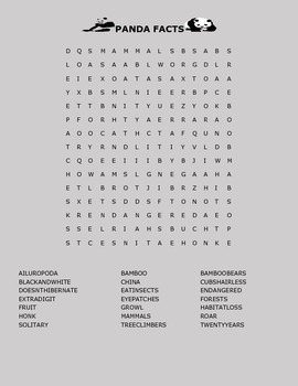 PANDA BEAR FACTS/  WORD SEARCH