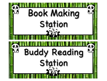 PANDA Themed Station/Center Signs - Great Classroom Management!  ADORABLE!