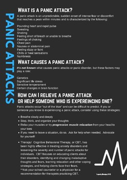 PANIC ATTACK / ANXIETY / PANIC DISORDER information for students and parents