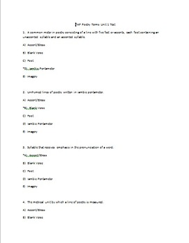 PAP Poetry Terms Practice and Tests