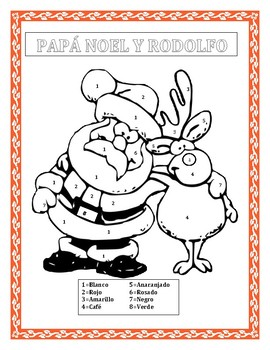 PAPÁ NOEL Y RODOLFO - Color by Number in Spanish- Christmas Themed