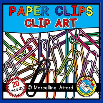 COLORFUL PAPER CLIPS CLIPART: SCHOOL SUPPLIES CLIPART: BACK TO SCHOOL CLIPART