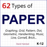 PAPER | Graphing, Grid, Pattern, Geometry, Writing, Cornell, Music... (K-12)