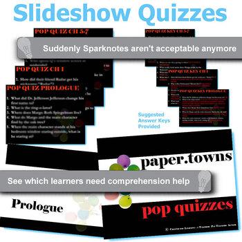PAPER TOWNS 13 Pop Quizzes Bundle